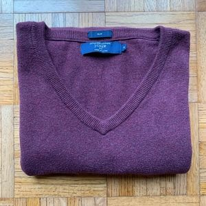 J. Crew Men's Maroon Slim Fit V-Neck Sweater, M